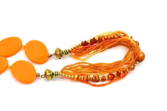 Orange necklace with beads