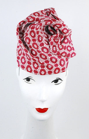 Red circles print sculpted headpiece - mariacurcic