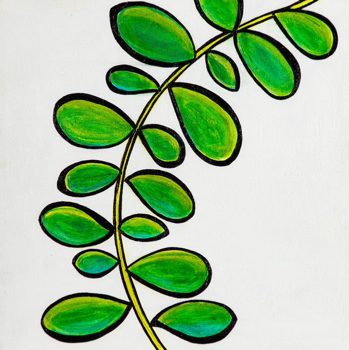 Tropical Leaves 2 - 12 x 12 Original Artwork