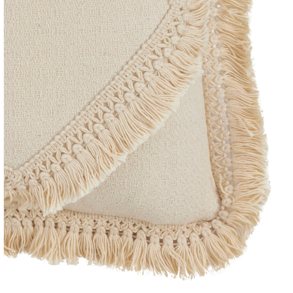 Fennco Styles Cotton Fringe Lace Appliqué Down-Filled Throw Pillow