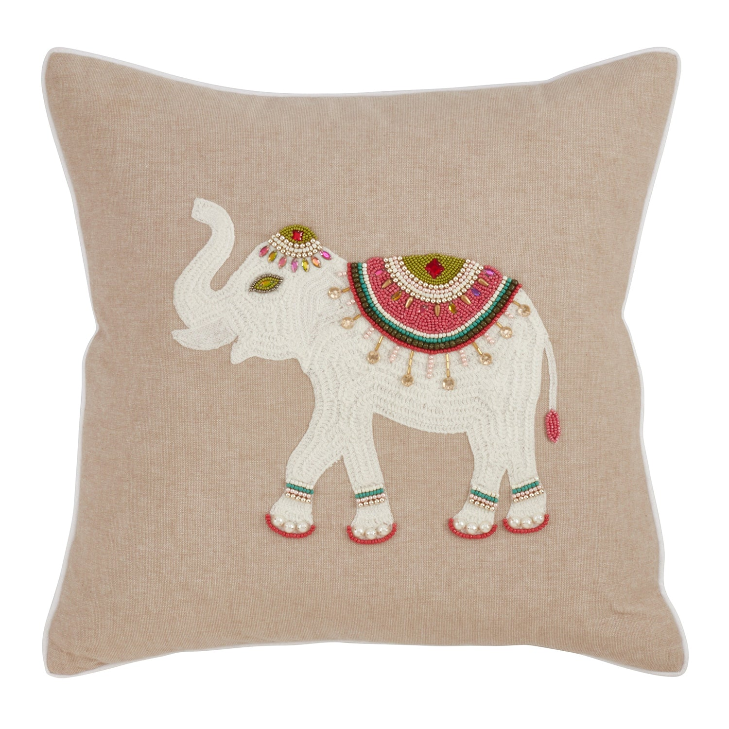 Fennco Styles Jhools Collection Embroidery Beaded Safari Animal Design 100% Pure Cotton 18-Inch Square Decorative Throw Pillow