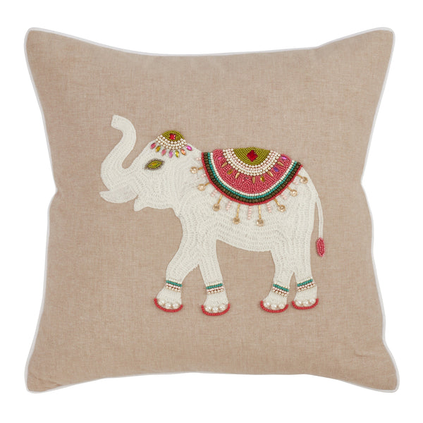 Fennco Styles Jhools Collection Embroidery Beaded Safari Animals 100% Pure Cotton 18 x 18 Decorative Throw Pillow