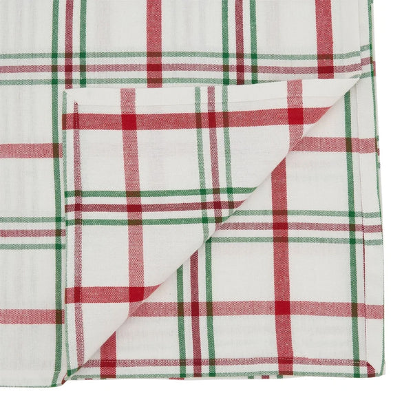 "Fennco Styles Holiday Plaid Design 100% Cotton Tablecloth 70"" W x 70"" L - Red Green Table Cover for Home, Dining Table Decor, Banquet, Christmas and Special Event"