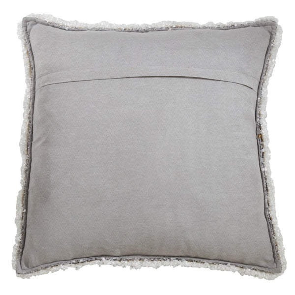 Fennco Styles Modern Shimmering Decorative Throw Pillow with Fringe Design