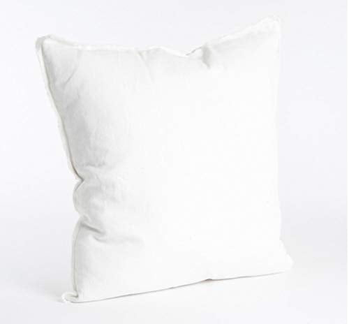 Fennco Styles Fringed Design Down Filled Linen 20-Inch Throw Pillow (Ivory)