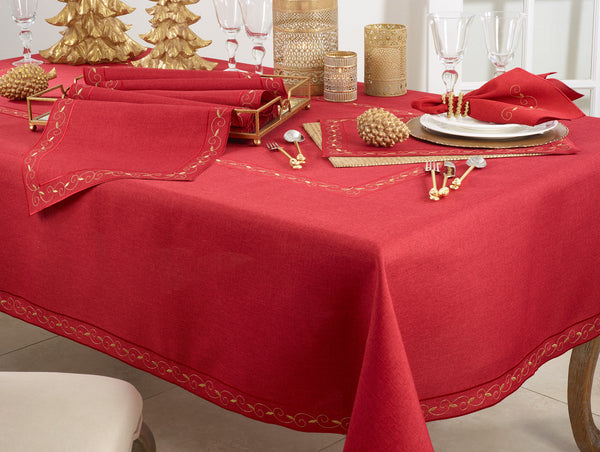 Fennco Styles Holiday Embroidered Bordered Design Tablecloth - Red Table Cover for Home Décor, Christmas, Banquets and Special Events