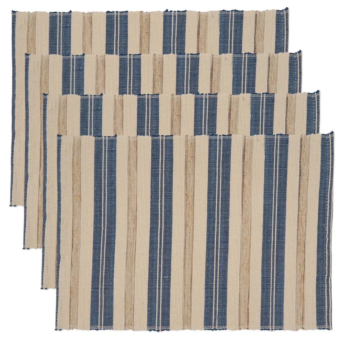 Fennco Styles Modern Water Hyacinth Woven Striped Table Runner
