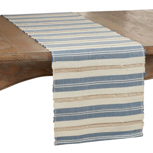 Fennco Styles Modern Water Hyacinth Woven Striped Table Runner - Blue Ivory Table Cover for Home Décor, Dining Table, Banquets, Holiday and Special Events