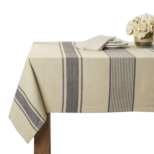 Fennco Styles Aulaire Banded Design 100% Cotton Tablecloth - Natural Striped Table Cover for Home, Dining Room Decor, Banquets, Family Gathering and Special Occasion