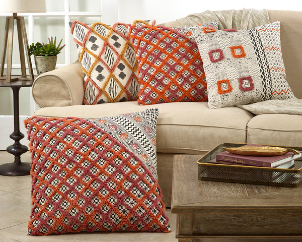 Fennco Styles Bohemian Block Print Tufted 100% Cotton Decorative Throw Pillow