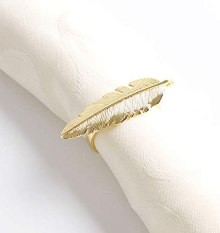 Fennco Styles Gold Plated Metal Palm Tree Monstera Napkin Rings - Set of 4 (Gold Feather)