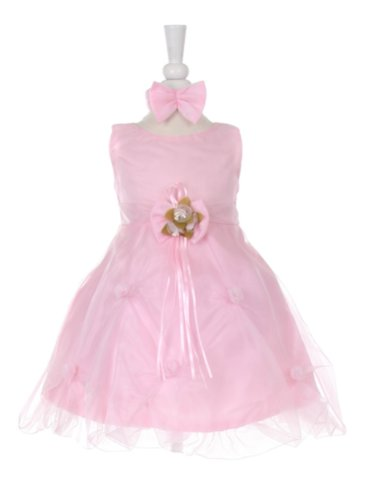 stylesilove Pink Wedding Baby Flower Girl Dress with a Headband 2-pc Set