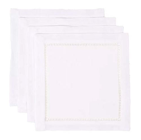 Fennco Styles Rochester Collection Contemporary Hemstitched Polyester 6 x 6 Inch Cloth Napkins for Dining Table, Banquet, Wedding, Family Dinner, White, Set of 4