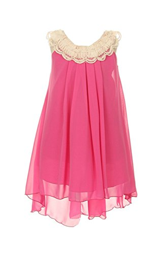 Chiffon Clooney Lace Hi-Low Wedding Flower Girl Dress, Made in USA