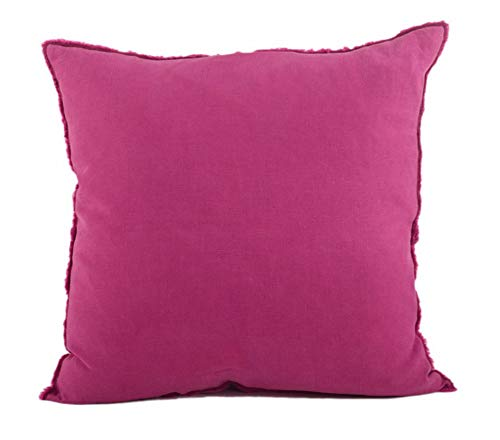Fennco Styles Fringed Design Down Filled Linen 20-Inch Throw Pillow (Fuschia)