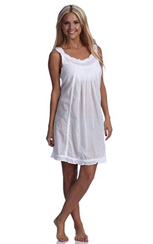 stylesilove.com Handmade Embroidered Eyelet Sleeveless Lady Nightgown, 100% Cotton, 5 Sizes