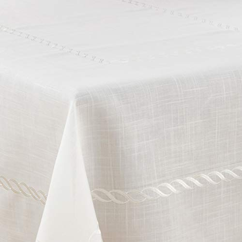 "Fennco Styles Abigail Collection Embroidered Braid Pattern Ocean Waves Table Linens (67"" x 104"" Tablecloth)"