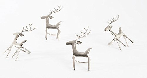 Fennco Styles Classic Holiday Reindeer Design Metal Napkin Rings, Set of 4