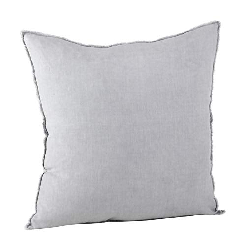 Fennco Styles Fringed Design Down Filled Linen 20-Inch Throw Pillow (Pewter)