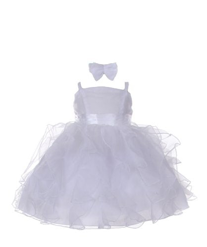 stylesilove Organza Satin Two Tone Ruffles Baby Flower Girl Dress With Hat 2-pc Set