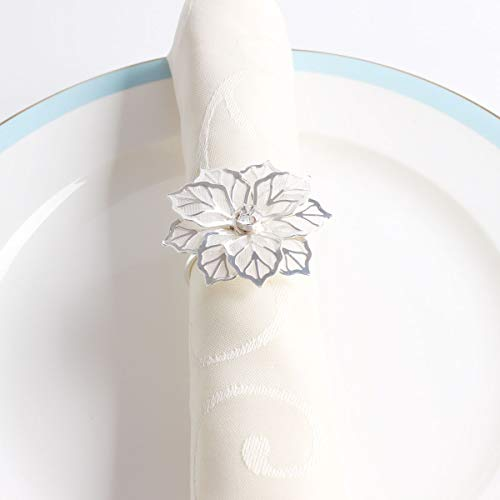 Fennco Styles Rhinestone Crystal Flower Napkin Rings Wedding Holiday Table Decoration - Set of 4