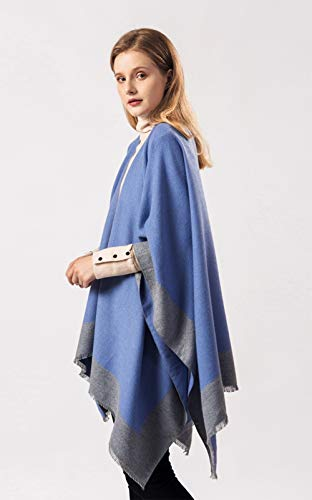 StylesILove Women Knitted Blue Open Front Poncho Cape Cardigan Cozy Wrap Jacket for Fall and Winter