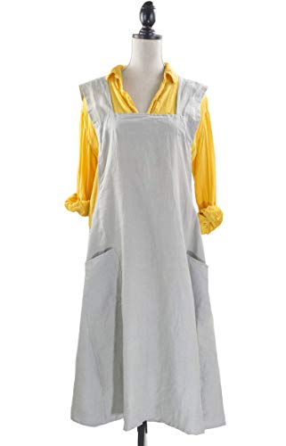 Fennco Styles Solid Criss Cross Back Apron Pure 100% Linen Cooking Kitchen Apron - 8 Colors