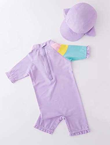 Styles I Love Little Girls Sweet Unicorn One-Piece Rash Guard Swimsuit with Sun Hat 2pcs Purple Bathing Suit Beach Swimwear