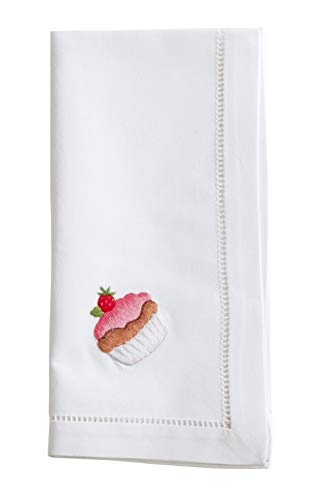 Fennco Styles Holiday Cotton Embroidered Cupcake 20 Inch Square Dinner Napkins, Set of 4