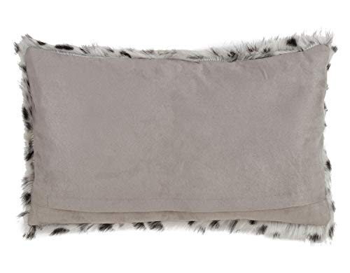 Fennco Styles Luxury Goat Fur Dalmatian Print Decorative Throw Pillow - Grey Accent Throw Pillow for Couch, Bedroom and Living Room Décor