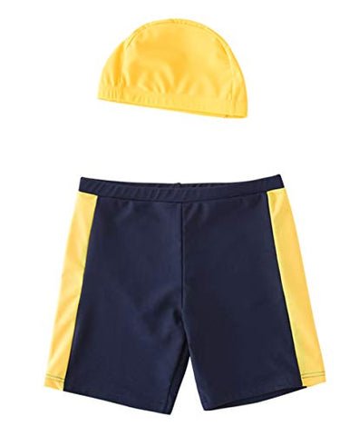 Styles I Love Toddler Boys Striped Swim Shorts Beach Swim Trunks with Swim Hat 2pcs Set
