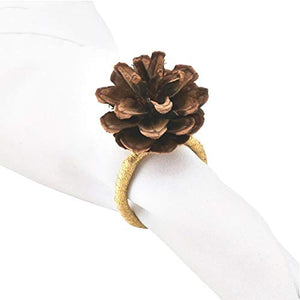 Fennco Styles Natural Pine Cone Metal Napkin Rings, Set of 4