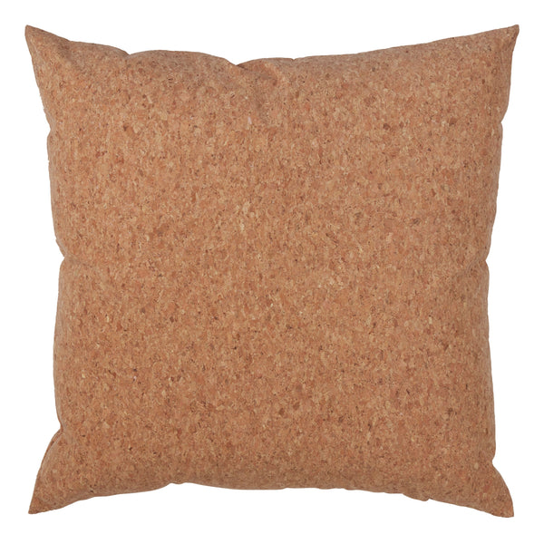 Fennco Styles Unique Cork and Poly Blend Design Decorative Down-Filled Throw Pillow 17-Inch Square - Natural Cushion for Couch, Sofa, Bedroom and Office Decor