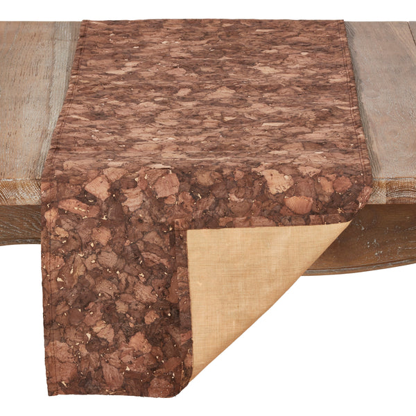 "Fennco Styles Unique Cork and Poly Blend Design Decorative Table Runner 16"" W x 72"" L - Brown Table Cover for Home Decor, Banquets and Special Occasion"