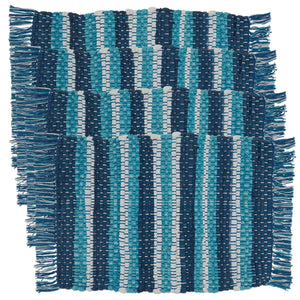 Fennco Styles Coastal Style Tasseled Striped Chindi 100% Cotton Table Linens