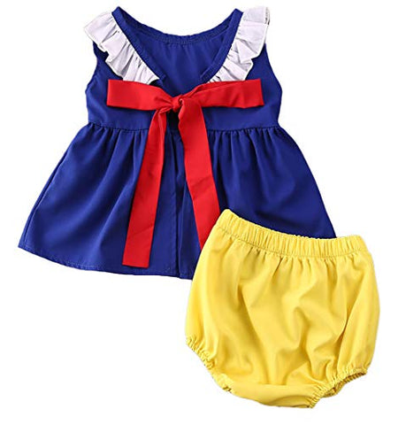 Styles I Love Baby Toddler Girls Snow Princess Sleeveless Blue Top and Yellow Bloomers 2pcs Sunsuit Set Summer Outfit