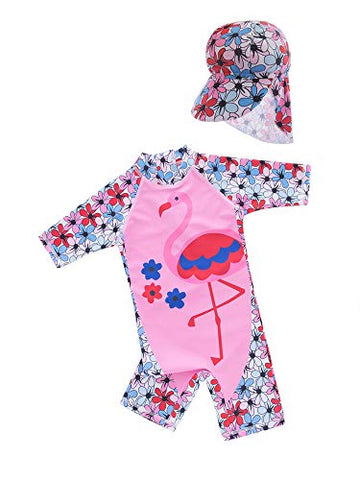 Little Girl Pink Flamingo One-Piece Rash Guard Swimsuit with Sun Hat