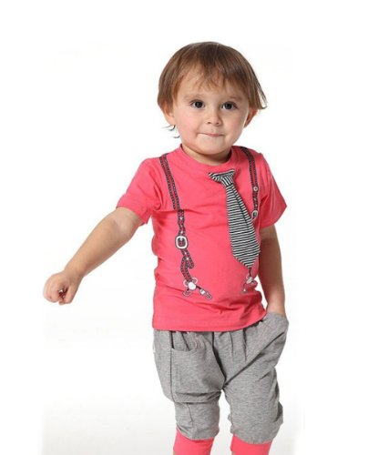 stylesilove Infant Toddlers Baby Cotton T-Shirt and Pants 2-Piece