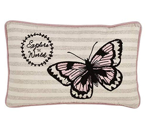 "Fennco Styles Explore The World Butterfly Decorative Throw Pillow Cover 13"" W x 20"" L - Pink Rectangle Cushion Case for Christmas, Home, Couch, Office, Living Room Décor"