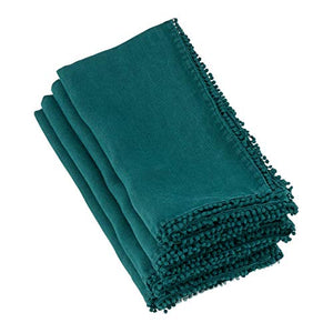 "Fennco Styles Pomponin Collection Pompom Design Cloth Napkins 100% Linen (20""x20"" Napkin, Jasper Green)"