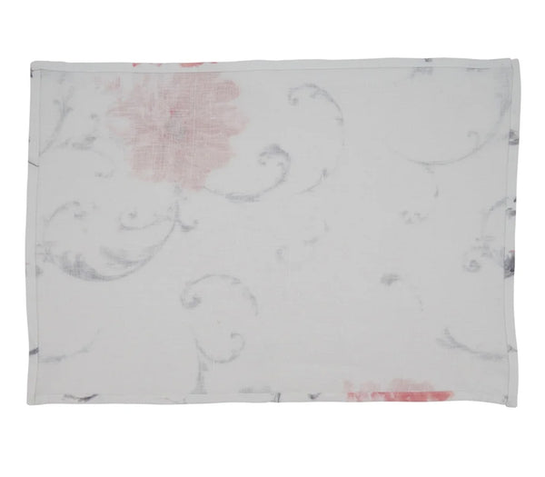 Fennco Styles Watercolor Print Delicate Floral 100% Linen Table Linen Collection