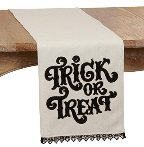 "Fennco Styles Trick OR Treat Table Runner with Lace Edge Design 14"" W x 72"" L"