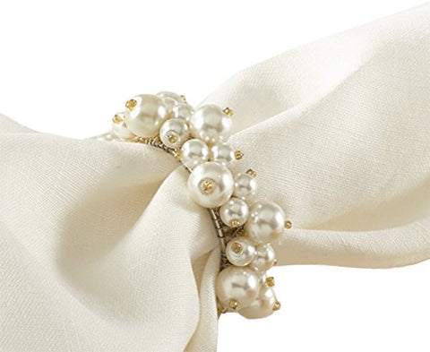 Fennco Styles Elegant Faux Pearl Napkin Rings, Ivory Color, 4-Piece Set