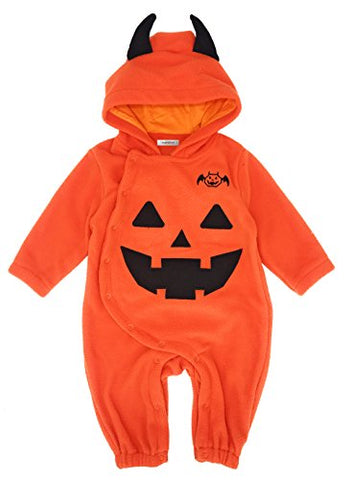 stylesilove Baby Toddlers Halloween Fleece Pumpkin Costume Hooded Romper