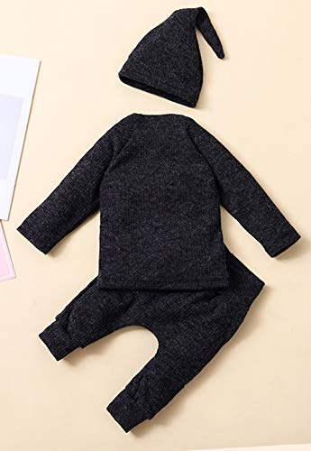 Styles I Love Unisex Baby Boys Girls Autumn Winter Knitted Long Sleeve Sweater and Pants with Hat 3pcs Cotton Outfit