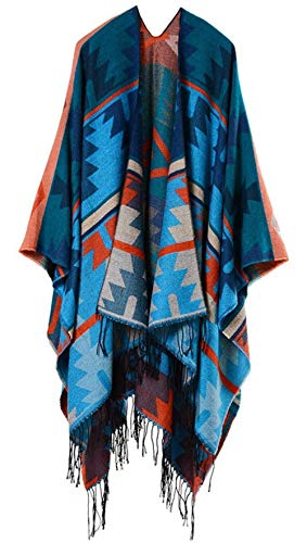 StylesILove Women Aztec Tribal Print Fringe Knitted Open Front Poncho Cape Cardigan Cozy Wrap Jacket for Fall and Winter