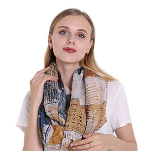 StylesILove Women Girls Color Block Abstract Print Infinity Loop Scarf Lightweight Autumn Wrap Neck Warmer