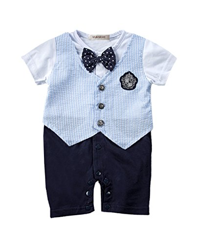 stylesilove Baby Boy Handsome Bowtie Formal Wear Romper, 2 Colors