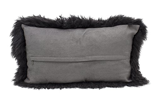 Fennco Styles Luxury Grade A Genuine Mongolian Lamb Fur Down Filled Decorative Throw Pillow