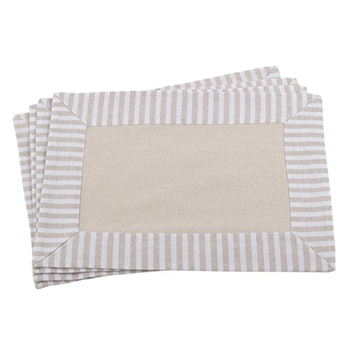 "Fennco Styles Striped Border Printed Design Cotton Linen Placemat 14""x20"" - Set of 4"